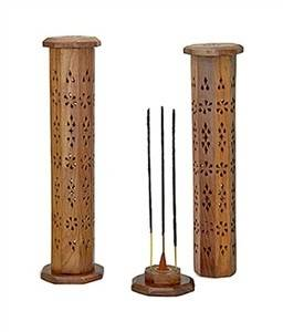 "Wooden Tower Burner for Sticks & Cone - 12""H - Sold as as Set of 2"