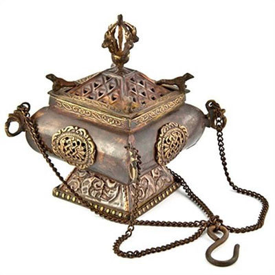 "Tibetan Temple Hanging Censer Burner Antique - 5.5""H"