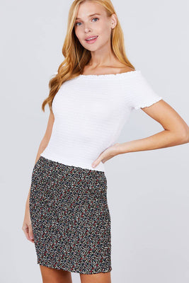 Waistband All Over Smocked Print Woven Mini Skirt