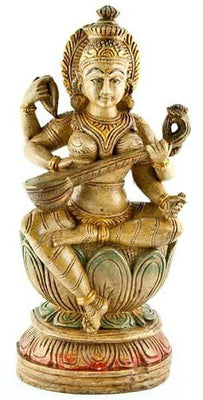 "SARASWATI-02 Goddess Saraswati Wooden Statue Antique - 18""H"