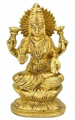 "Goddess Laxmi on Lotus Brass Statue - 4.5""H"