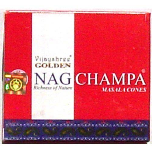 Golden Nag Champa Cones - 10 Cones and Burner - Sold in Sets of 4