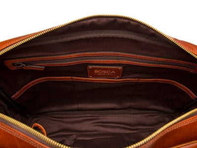 Bosca Dolce 838 Italian Leather Top Zip Briefcase