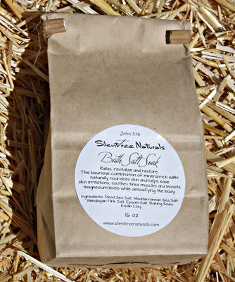 Bath Salt Soak-Unscented, Natural Skincare, Detox, Calming-Relaxing, All Natural, Magnesium-Rich Salt, 1 lb, Free Shipping