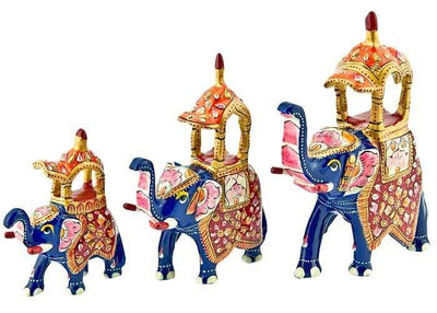 "Pieces Royal Elephant Hand Painted Lacquer Statue Set - 3.5"", 5"", 5.5""H"
