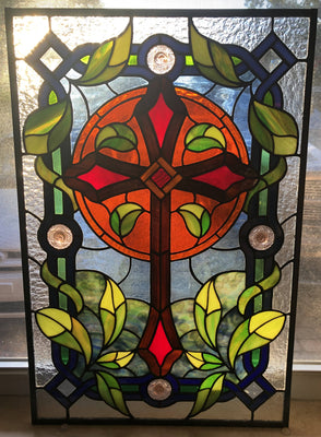 Cross Stained Glass Panel
