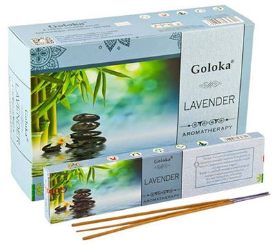 Goloka Aroma Lavender Incense - 15 Gram Pack (12 Packs Per Box)