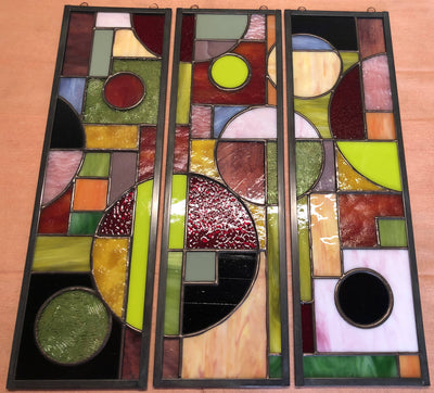 Geometric Abstract Stained Glass Panels (Set of 3)