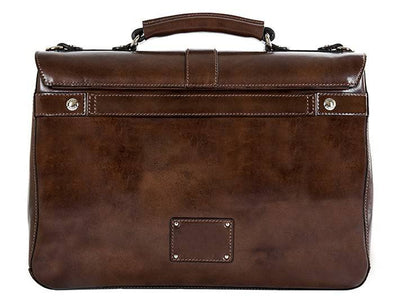 Bosca Leather 815-39 Italian Leather Flap Over Briefcase