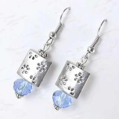 Blue Crystal Square Dangle Earrings