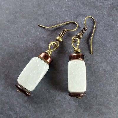 Bronze Green Aventurine Earrings with Brown Shell