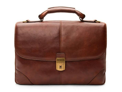 Bosca Dolce 813 Leather Flap Over Briefcase