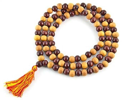 Natural Sandalwood with Red Sandal Prayer Mala - 8mm