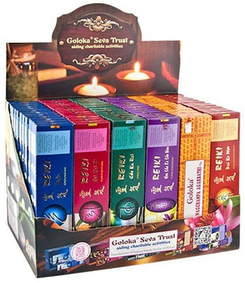 7 Goloka Reiki Series Incense Display Set - 72 Packs