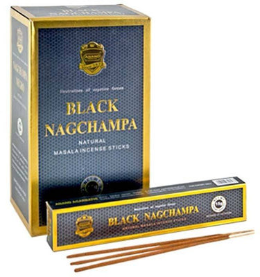 Black Nag Champa Incense - 15 Gram Pack (12 Packs Per Box)