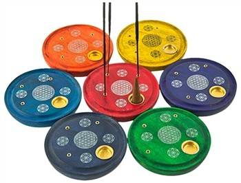 "7 Pieces Chakra Flower of Life Cone & Sticks Plate Burner Set - 4""D"