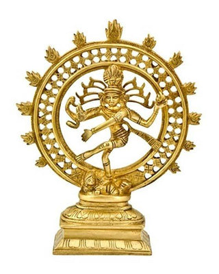"Natraj Dancing Double Ring Brass Statue - 9""H"
