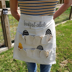 10 Pocket Chicken Themed Canvas Egg Collecting Apron