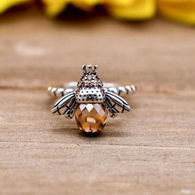 Amber Crystal and Rhinestone Queen Bee Ring