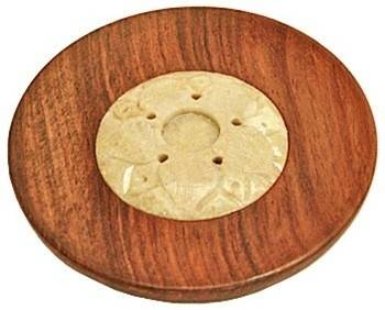 "Wooden Plate Burner for Sticks & Cones - 4""D - Sold as as Set of 6"