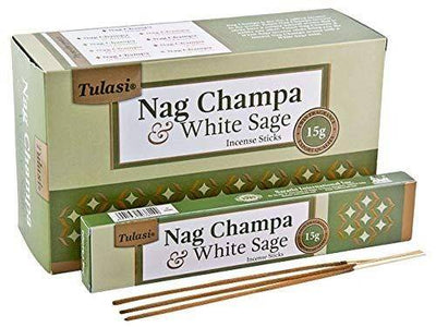 Tulasi Nag Champa & White Sage Natural Incense - 15 Sticks Pack - Set of 4 Packs