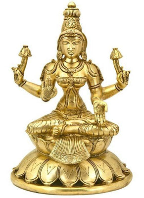 "*Goddess Laxmi Sitting on Lotus Brass Statue - 8""H"