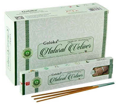 Goloka Natural Vetiver Incense - 15 Gram Pack (12 Packs Per Box)