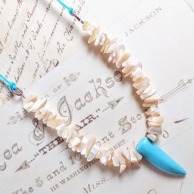 Turquoise Tooth with Mother of Pearl Shell Necklace