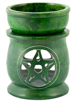 "*Pentacle Carved Oil & Resin Burner in Green - 3""x3""x4"""