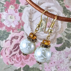 Floral Pearl & Amber Gold Earrings