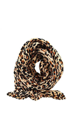 Designer Pleated Leopard Print Scarf
