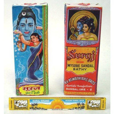 Suraj Sandalwood Incense - Mysore Chandan Bathi - Traditional Packaging - Sold as a Set of 4 Boxes