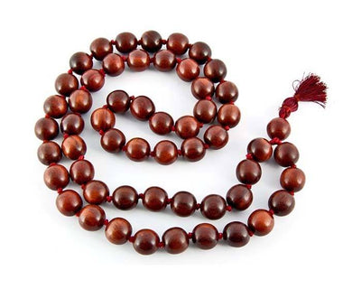 54 Beads Red Sandalwood Prayer Mala Superfine Knotted - 14mm