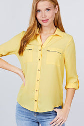 3/4 Roll Up Sleeve Pocket W/zipper Detail Woven Blouse
