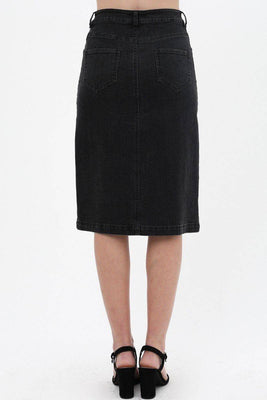 Denim Mid Thigh Length Skirt With Button Down Front Detail