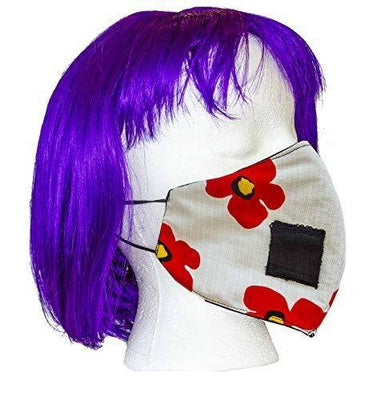 Adult Polyester/Cotton Face Mask - Three Layer Floral Red Soft Fabric Material - Washable - Adult One Size - Made in The USA