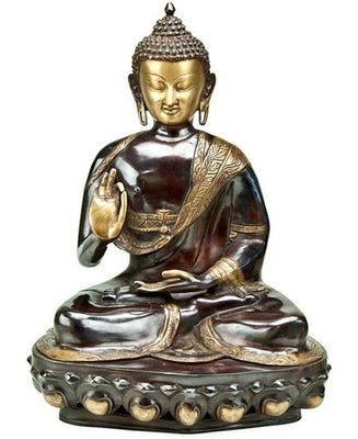 "Lord Buddha Sitting Blessing Hand Brass Statue - 21""H, 14.5""W"