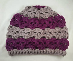 Pewter Gray And Dark Orchid Skulls Slouch Hat