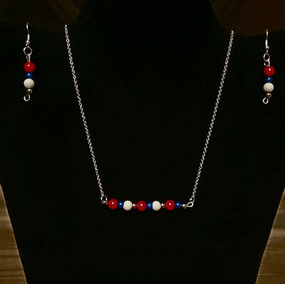 4th of July Bar Pendant Necklace Set