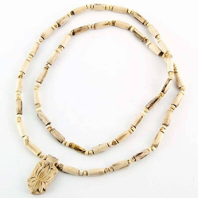 Tulasi Wood Lotus Pendent Necklace - 24""