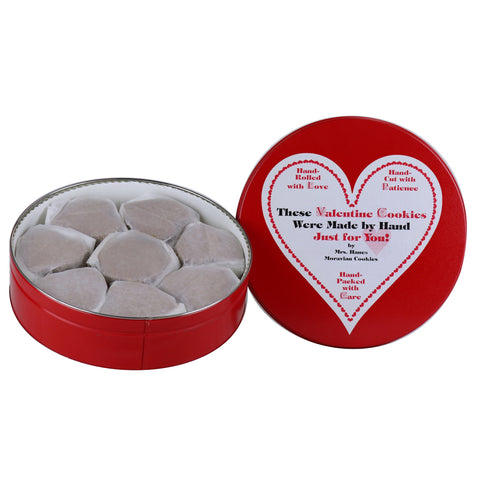 14 oz Tin of Chocolate Crisps with Valentine Label