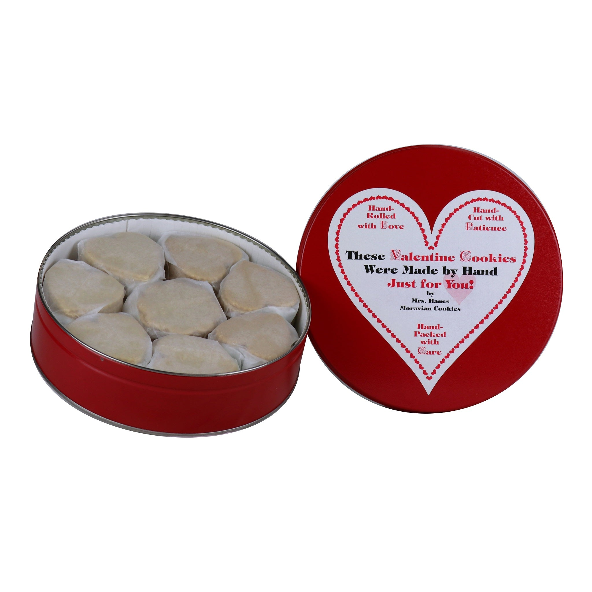 14 oz Tin of Lemon Crisps with Valentine Label