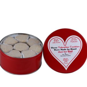 28 oz Tin of Chocolate Crisps with Valentine Label