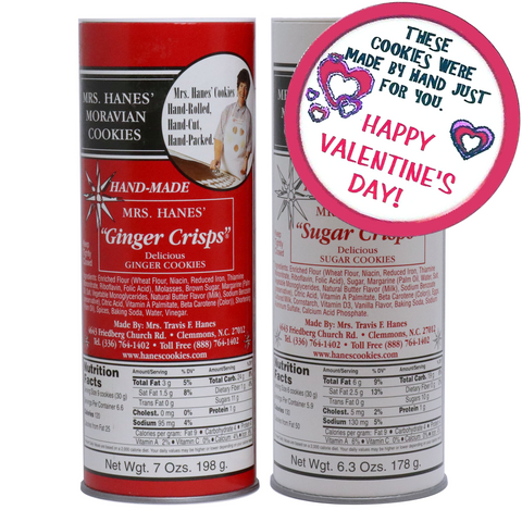 Two Tubes of Moravian Cookies (Ginger & Sugar) with Valentine Labels