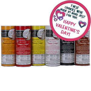 Six Tubes of Moravian Cookies (one of each flavor) with Valentine Labels