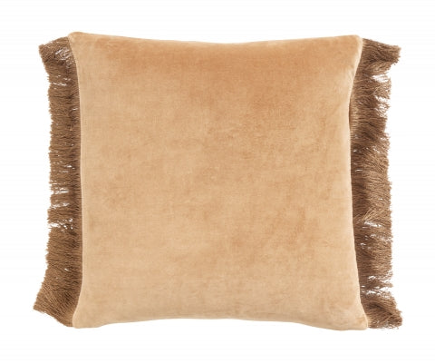 Velvet cushion cover w/ fringing