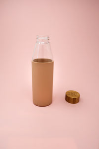 Eco-friendly Glass & Bamboo Water Bottle - Latte Nude