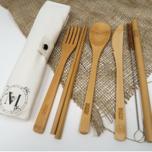 Load image into Gallery viewer, Bamboo Cutlery Set with Travel Pouch