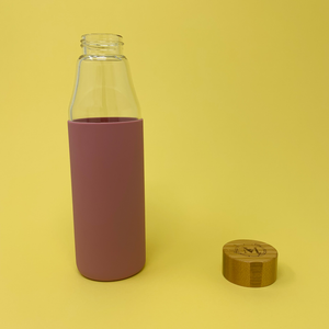 Eco-friendly Glass & Bamboo Water Bottle - Taffy Pink