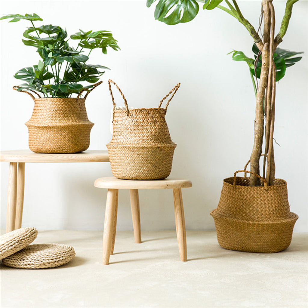 Garden Flower Pot Seagrass  Basket Storage Plant Pot Foldable Seeding Nursery Decoration Bag - Pixie Gears